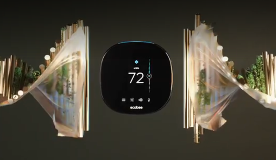 thermostat intelligent Ecobee sur fond noir