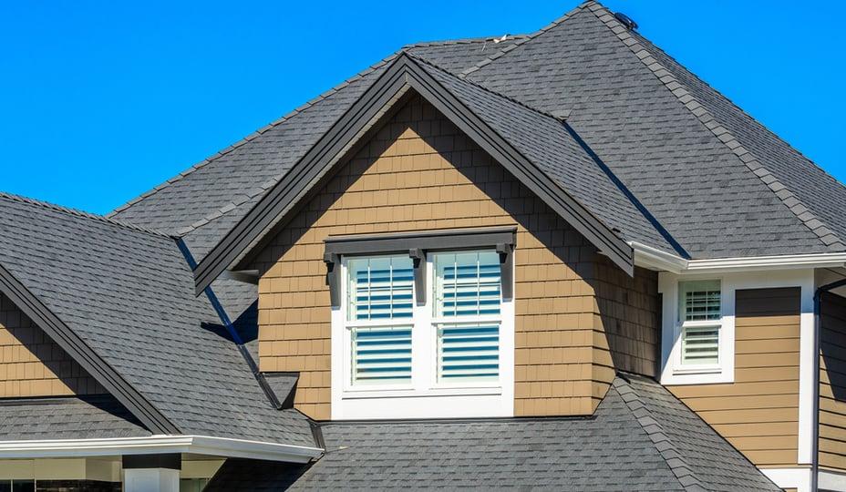 toiture en bardeau sur toit en pente avec fenêtre blanche