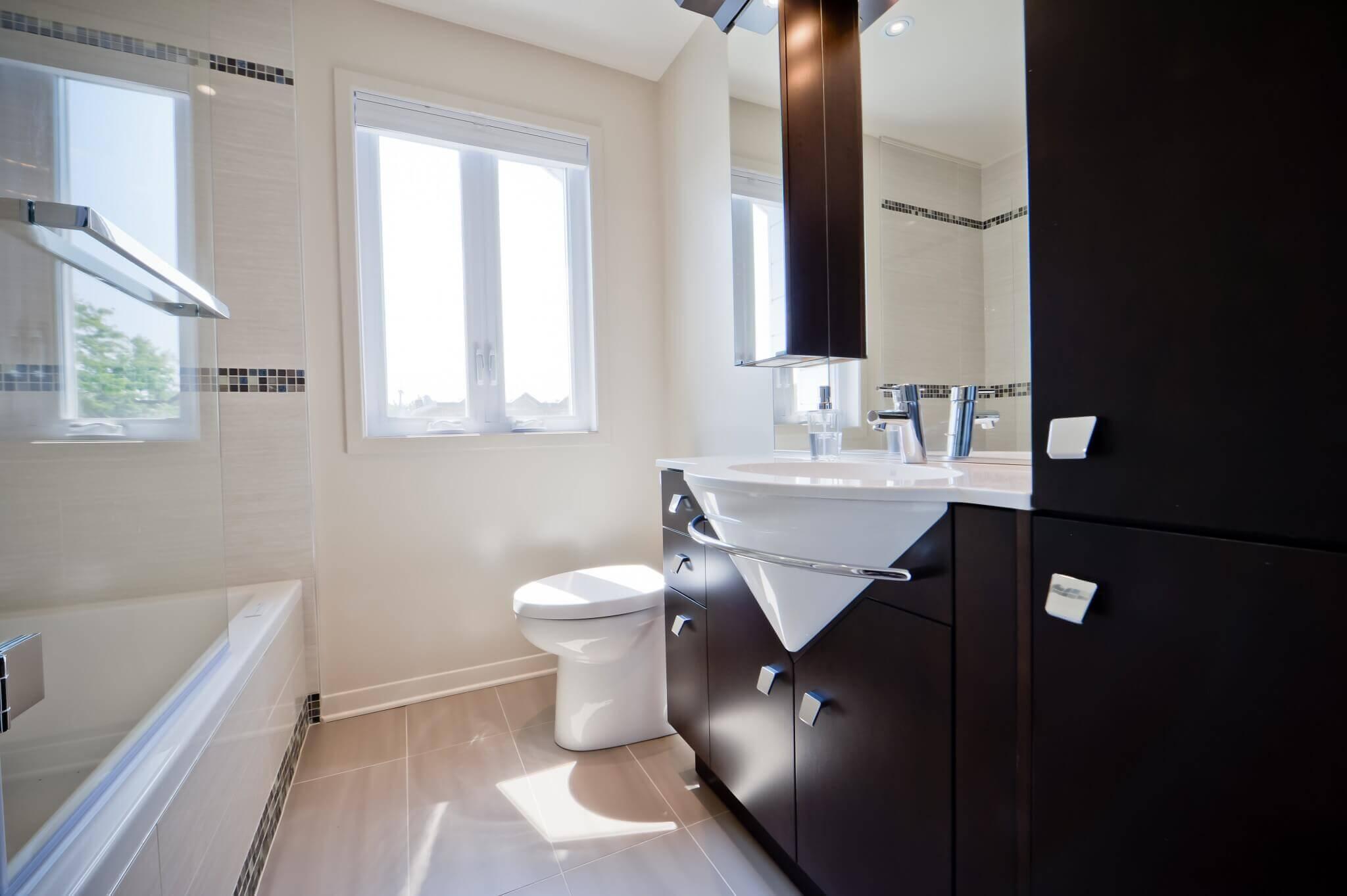 salle de bain vanite brune