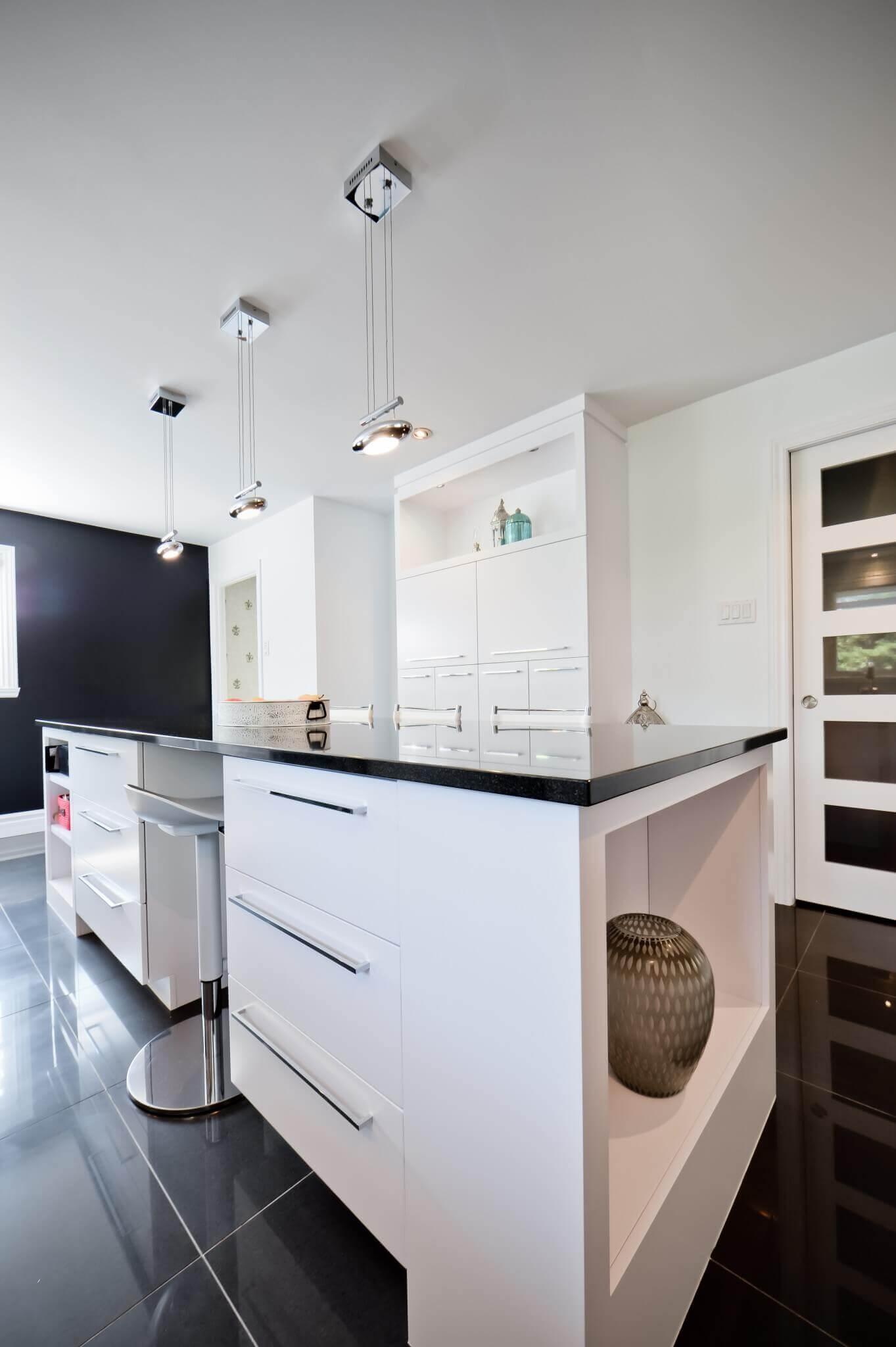 grand ilot de cuisine comptoir de quartz