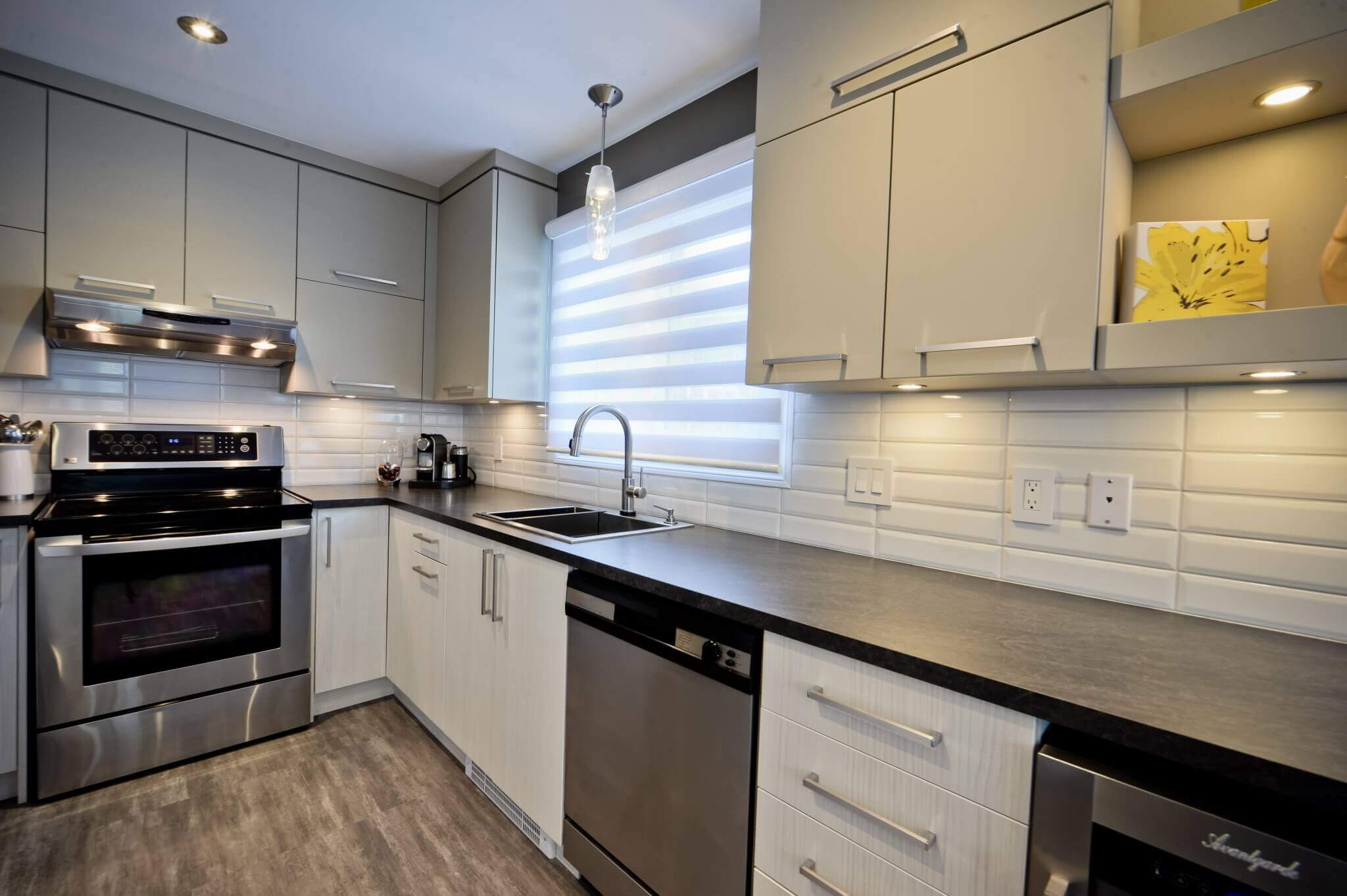 Kitchen Renovation Cloutier Project White ceramic backsplash Melamine Cabinets Modern Contemporary