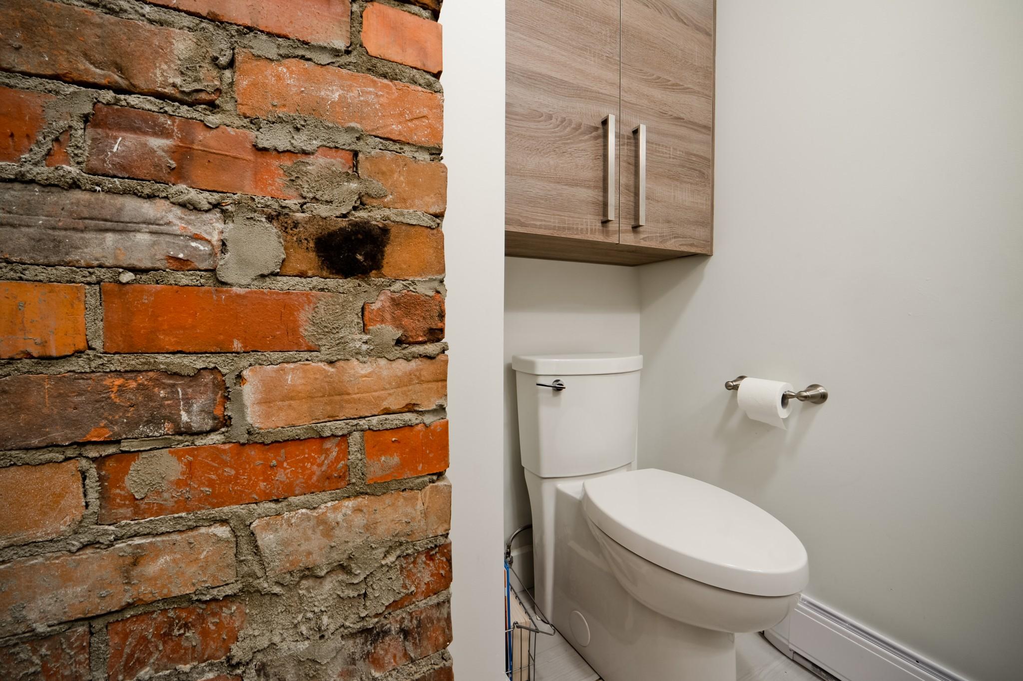 salle de bain industrielle briques