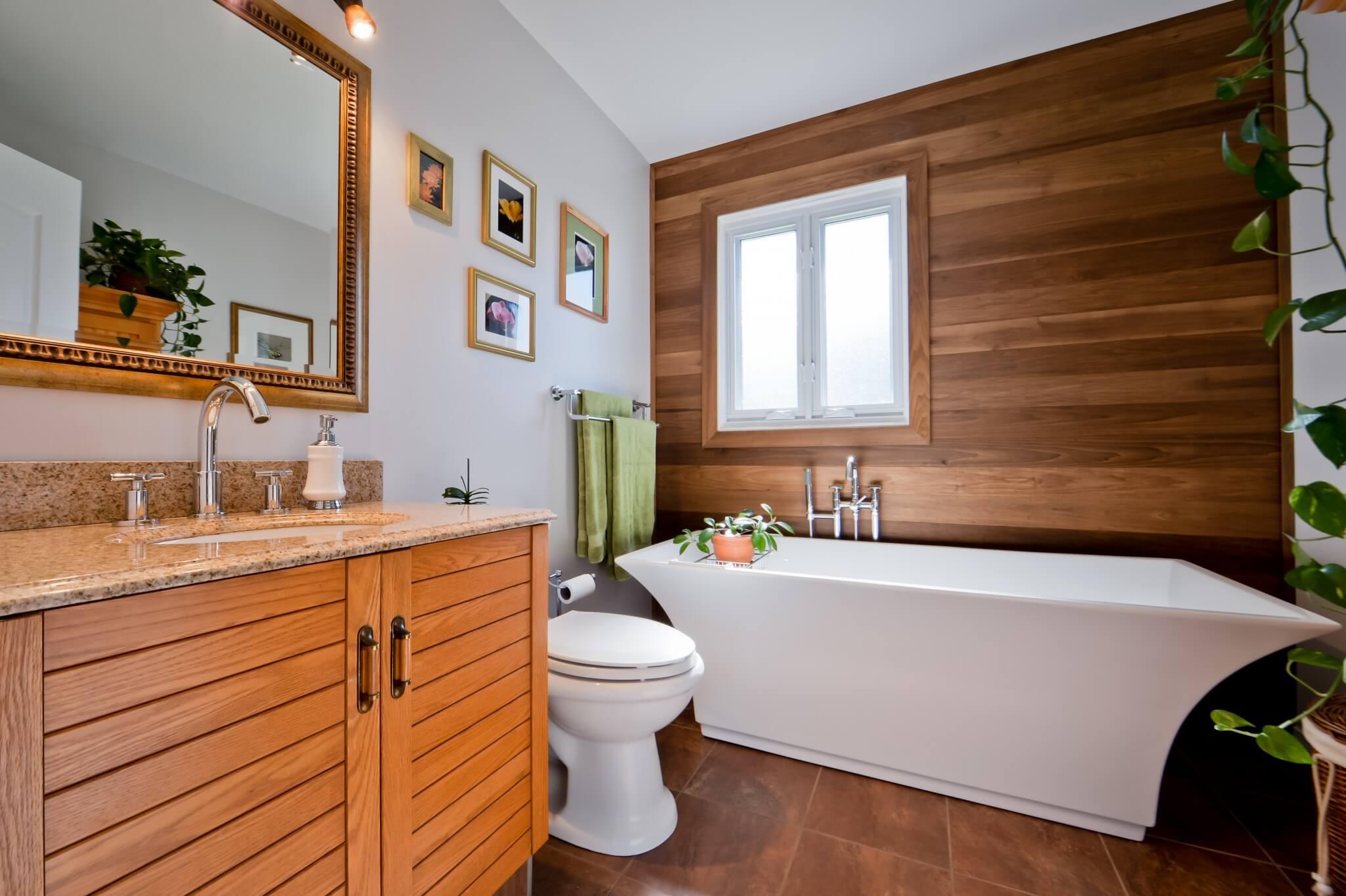 vanite de bois salle de bain