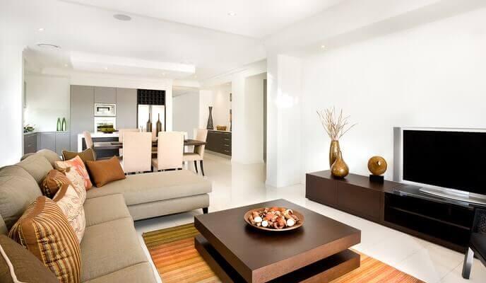 salon moderne avec cuisine