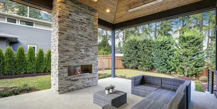 concrete patio fireplace
