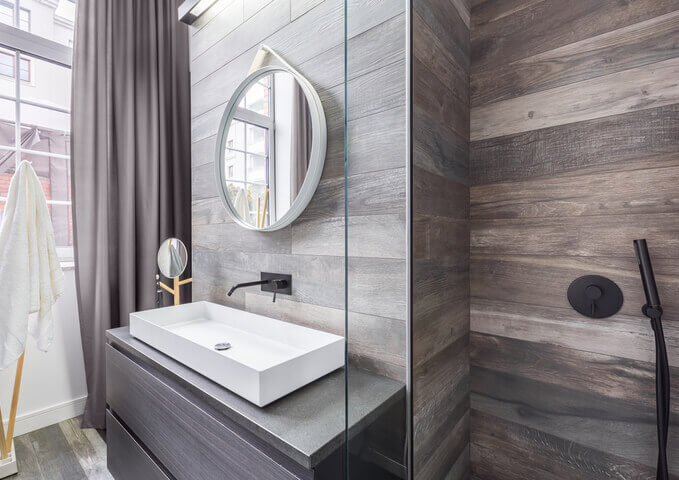 bathroom with wood veneer