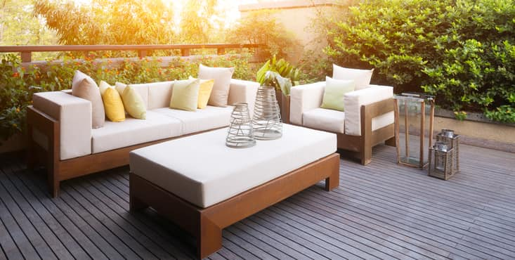 wooden balcony couches