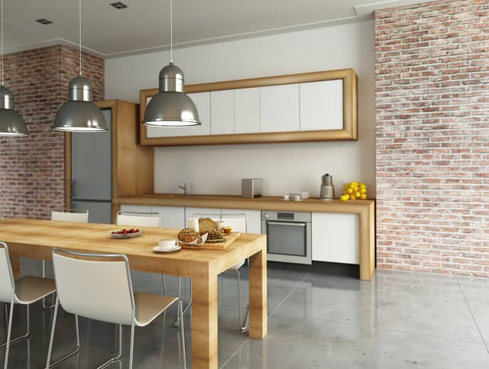 industrial style kitchen wooden countertop brick wall