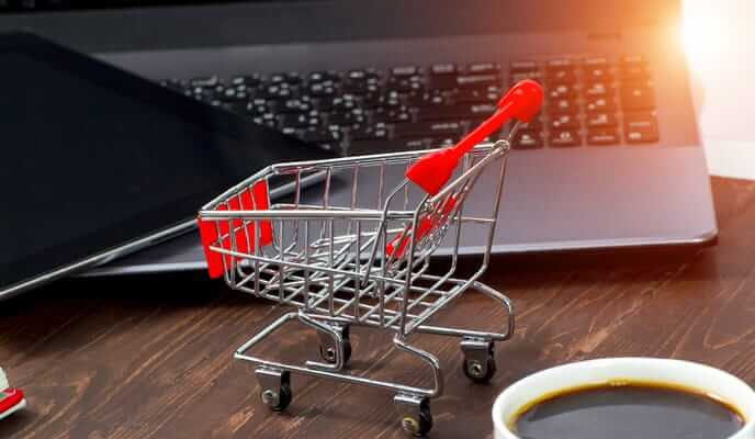 shopping cart laptop online computer