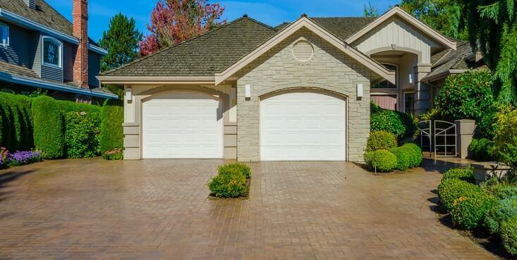 garage entrance paved stones