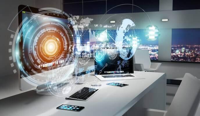 bureau moderne du futur