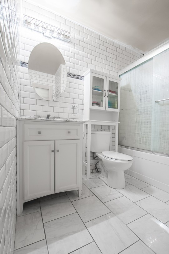 unique white bathroom