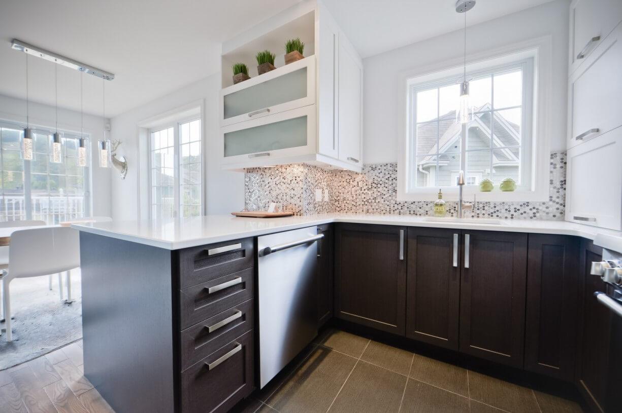 kitchen dark brown cabinets