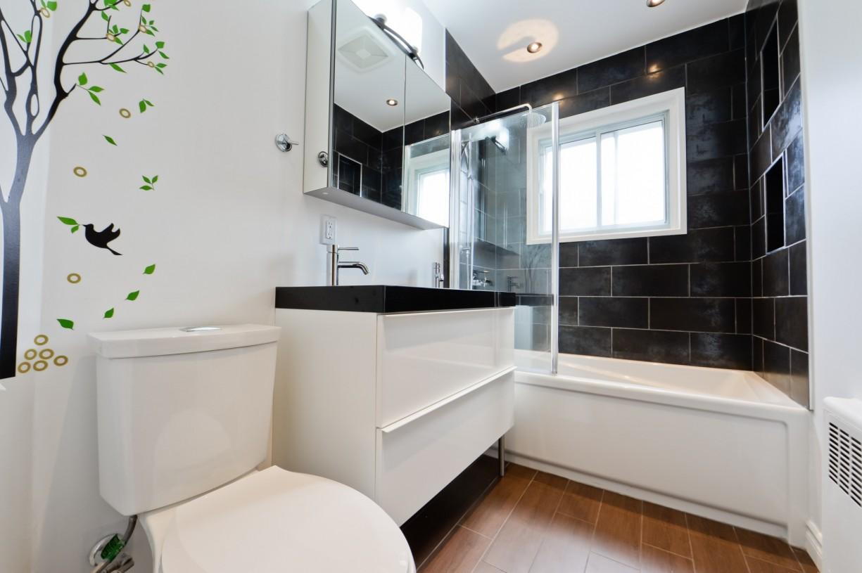 dark and white bathroom