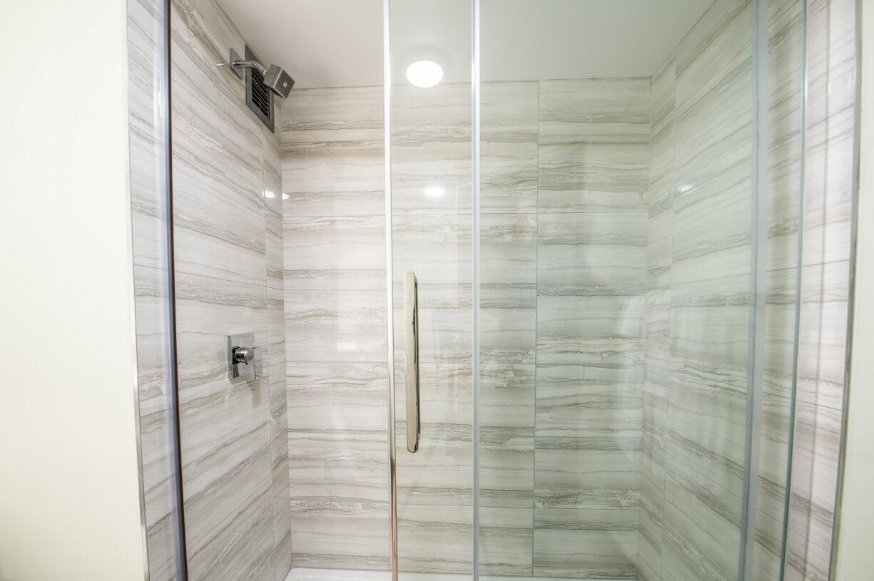 shower in a hotel bathroom