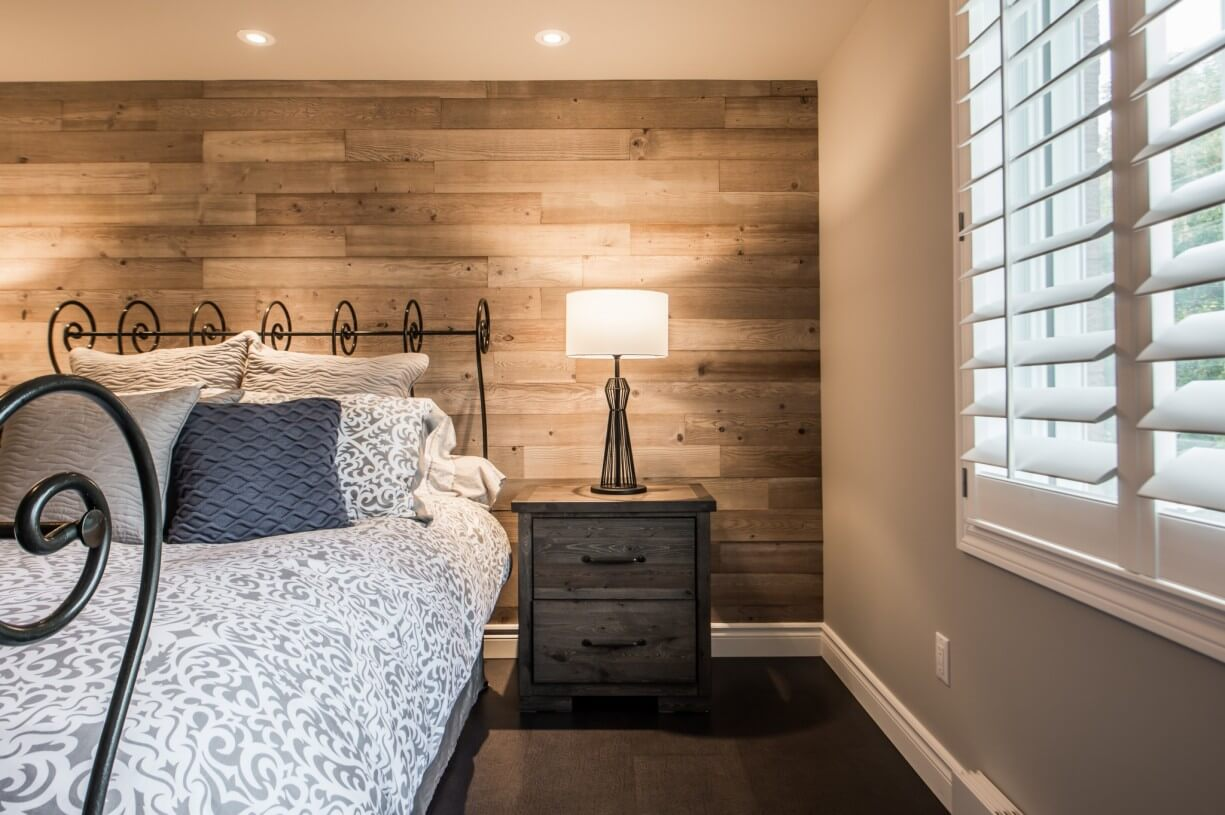 wooden wall in bedroom