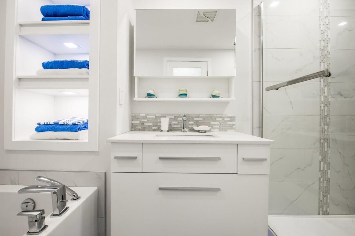 white bathroom designer