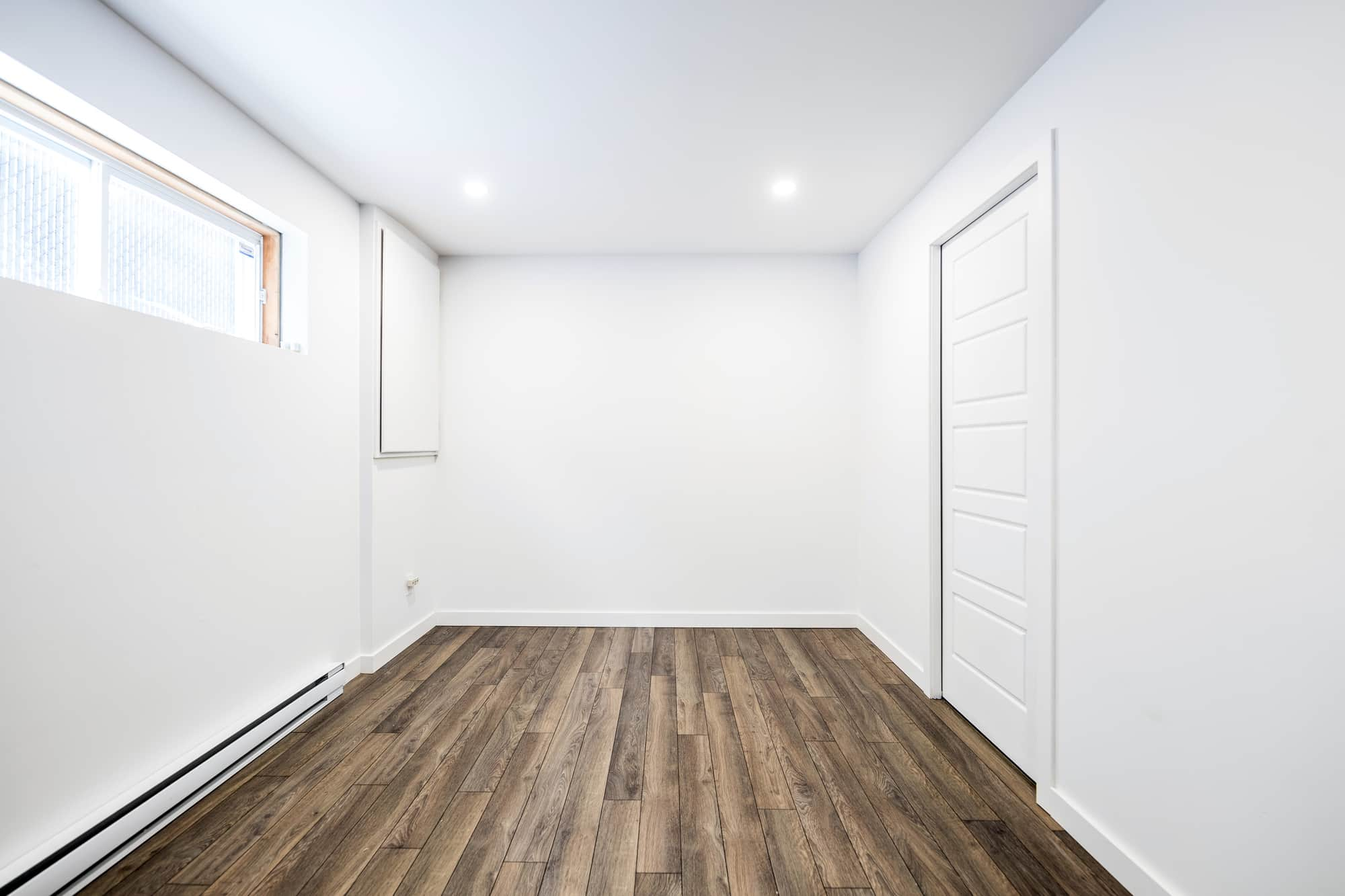 floating wood floor in a new basement