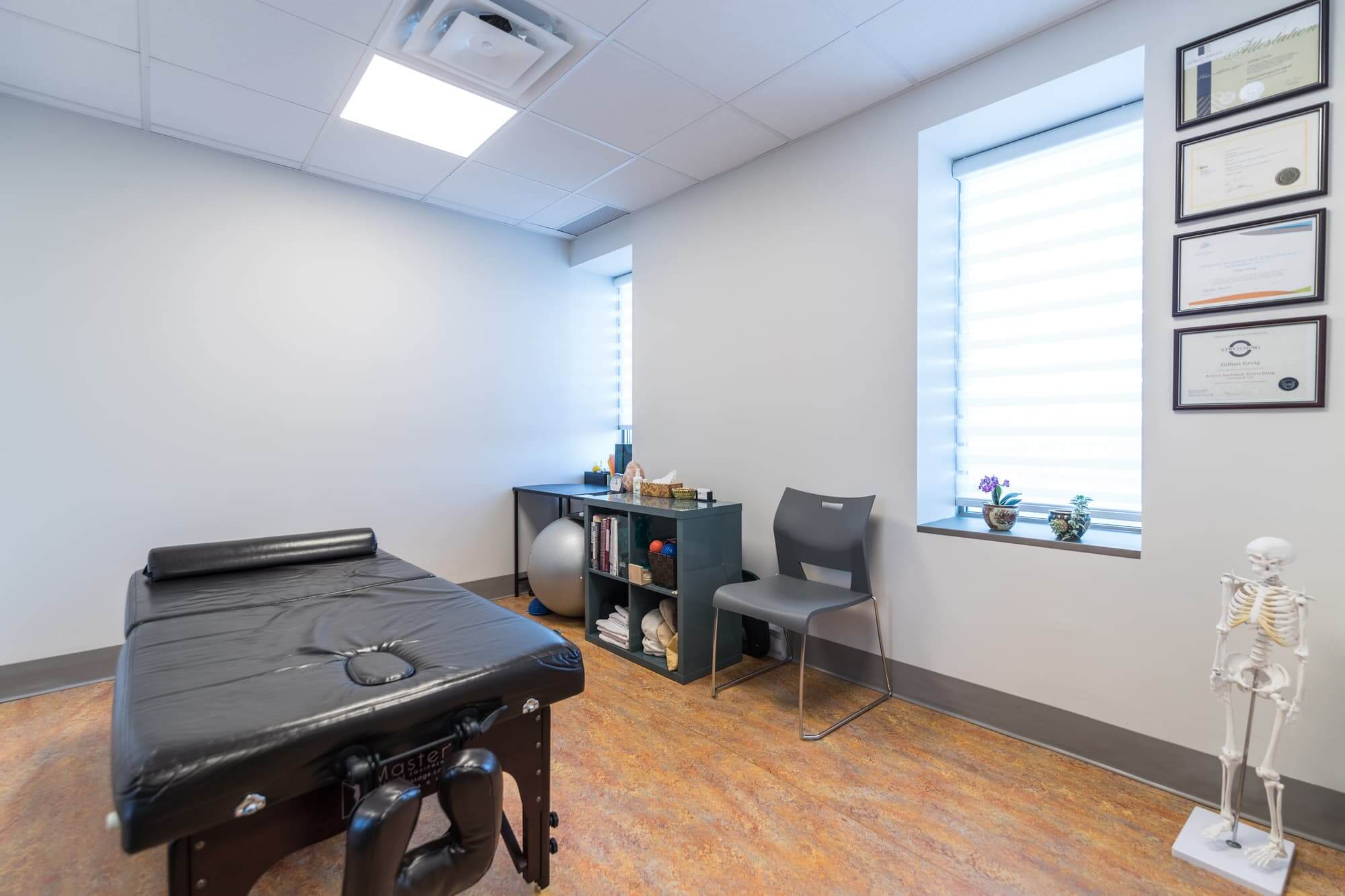 Newly renovated massotherapy room of a physiotherapy clinic