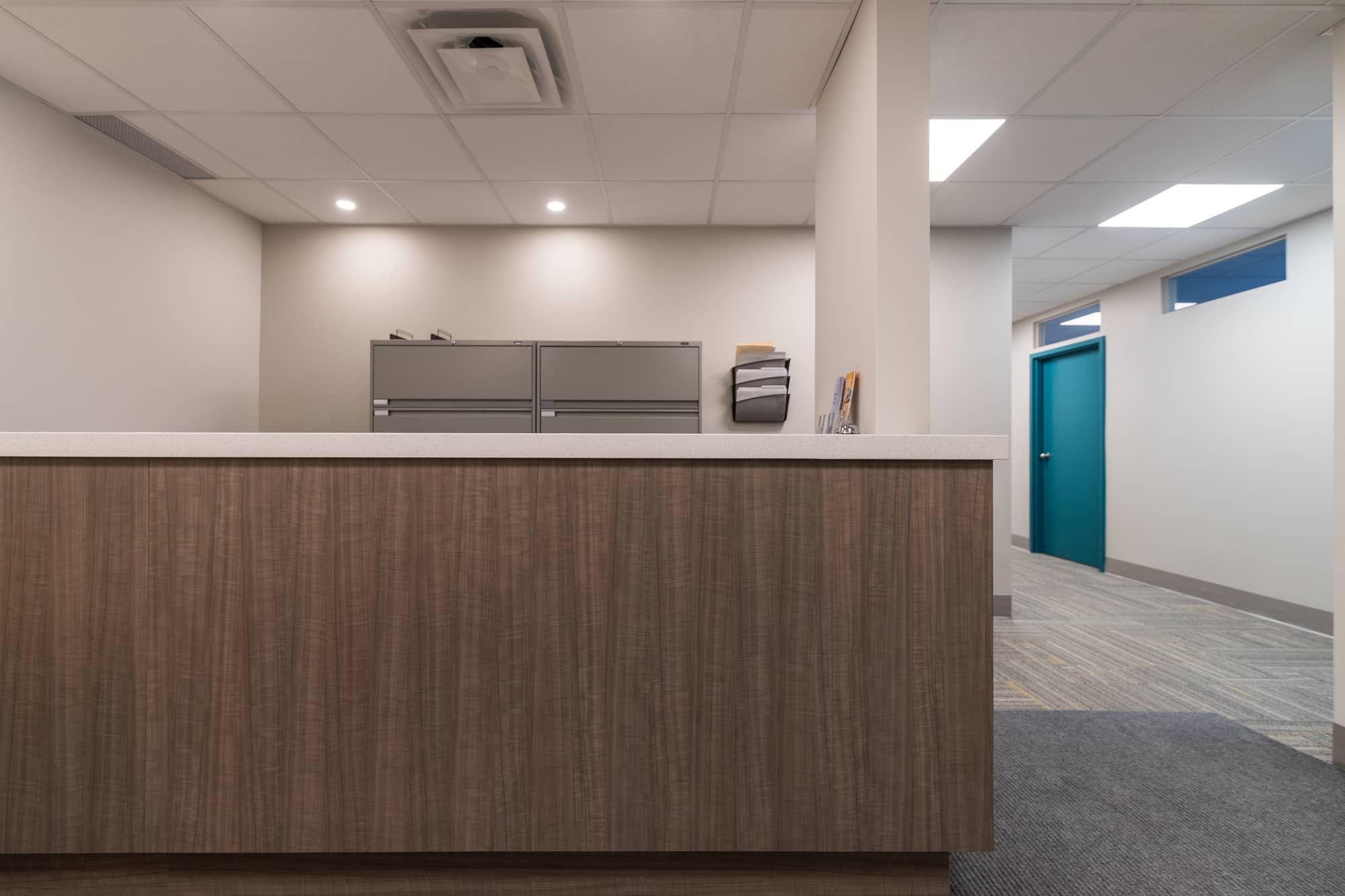 Reception desk in a newly renovated physiotherapy clinic