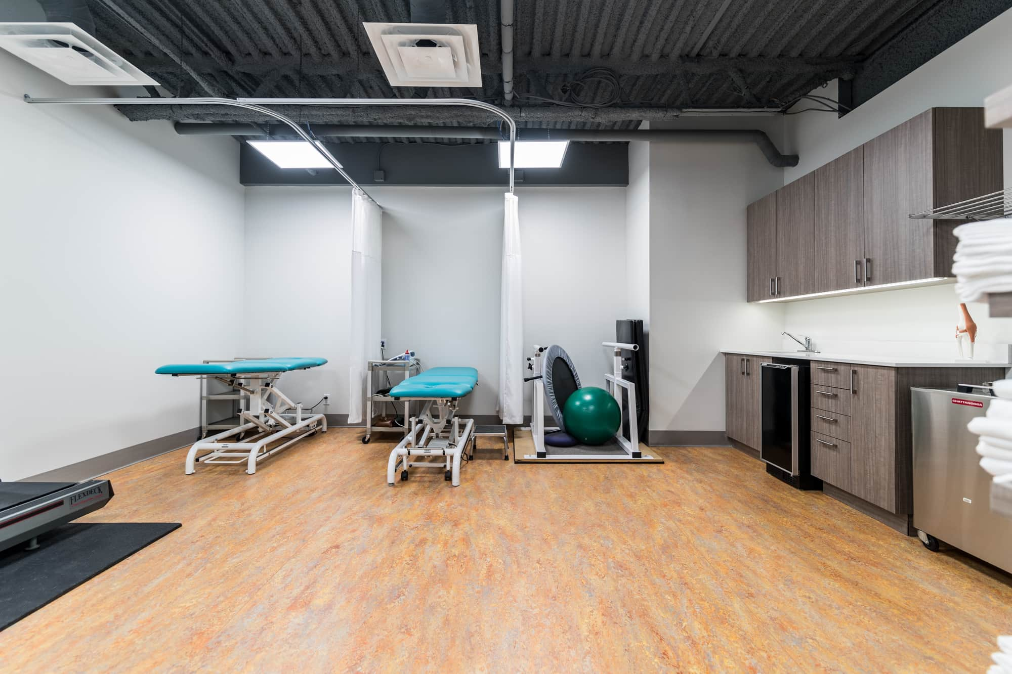Rehabilitation room after renovation in a physiotherapy clinic