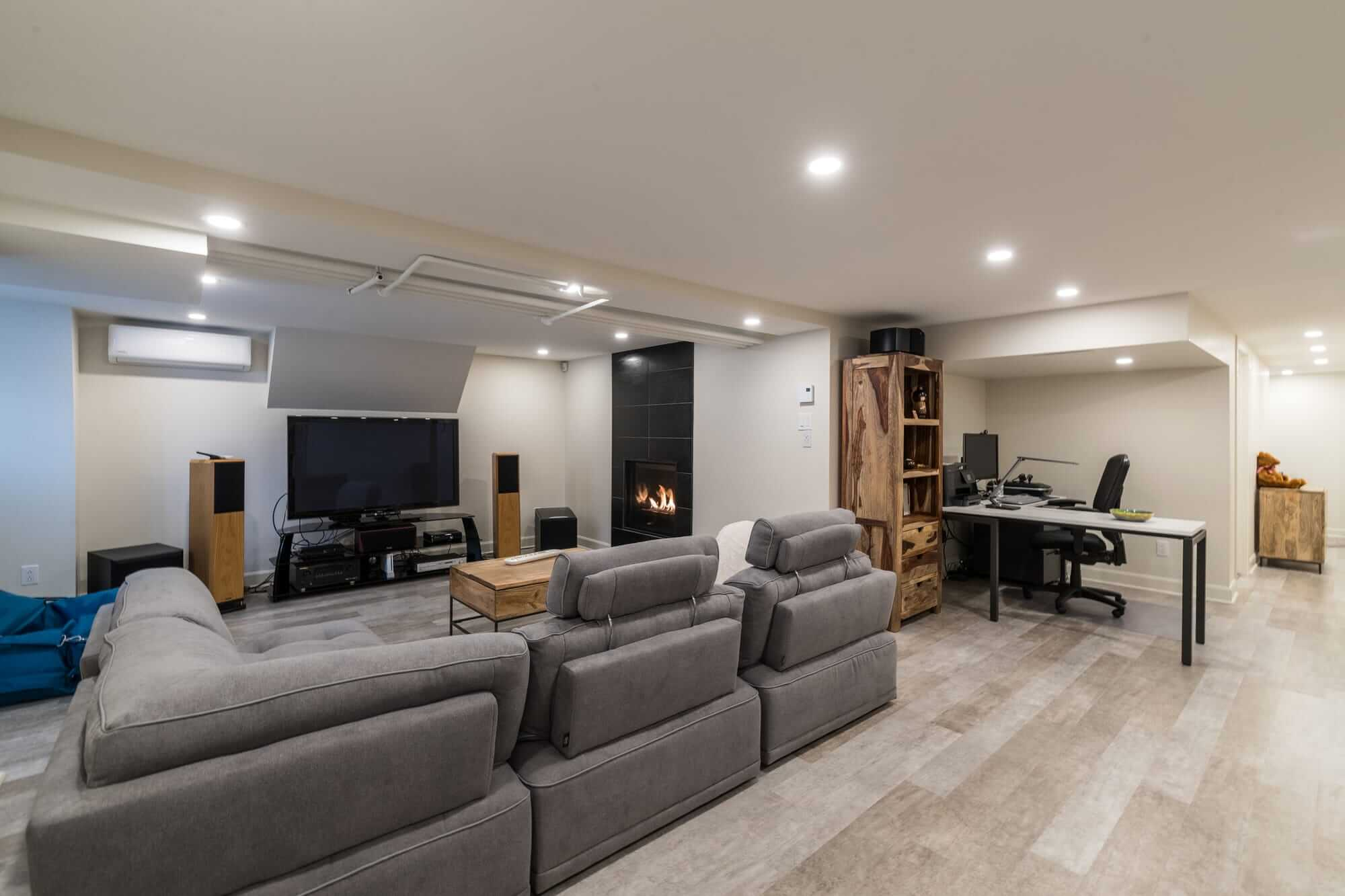 View of a family room after a basement renovation