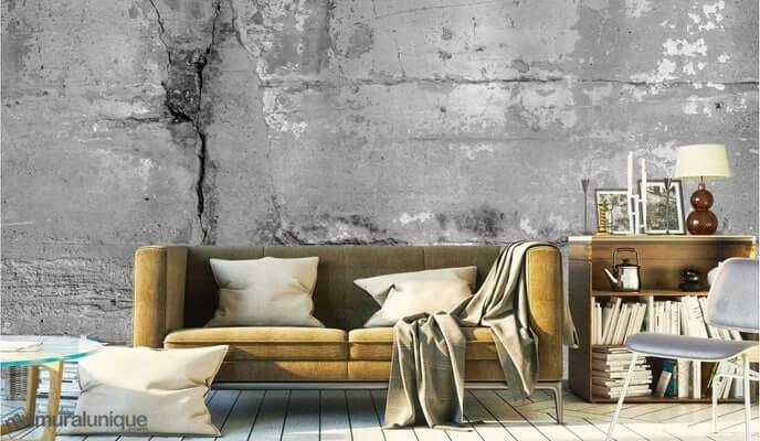 Murale décorative immitation de béton installé à un mur de salon avec divan et autres accessoires - SIDIM