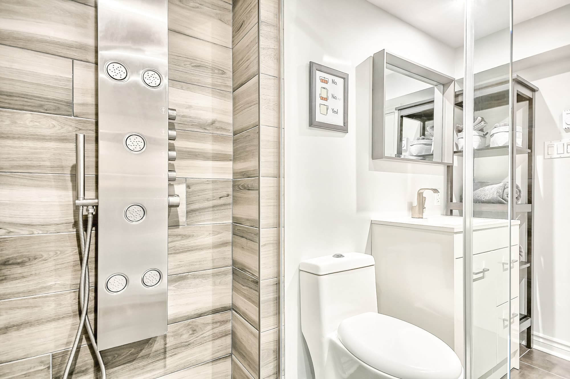 newly renovated basement bathroom