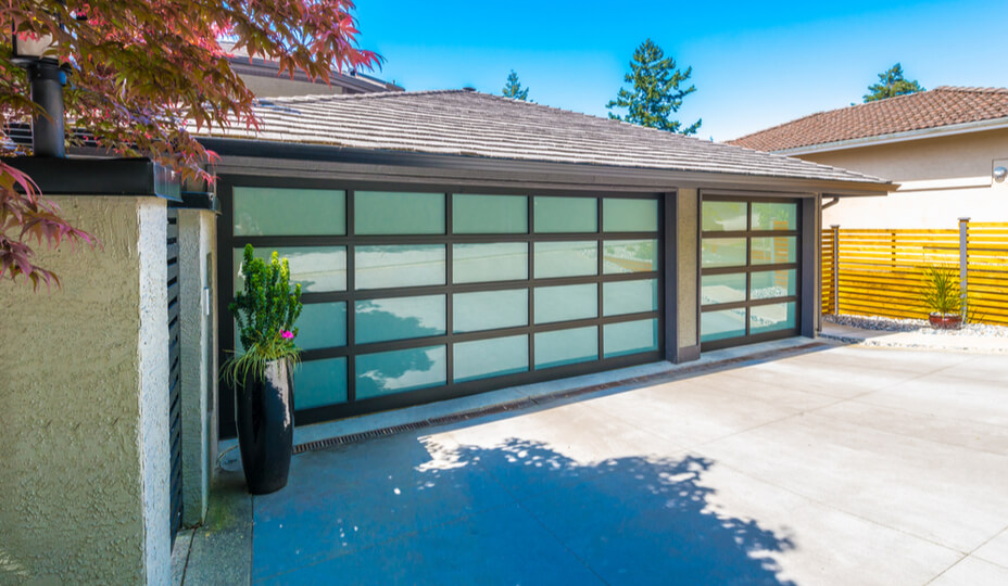 double garage with glass doors in tropical weather