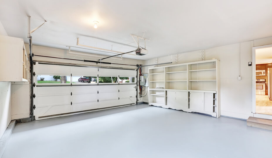 interior of a new garage painted all in white