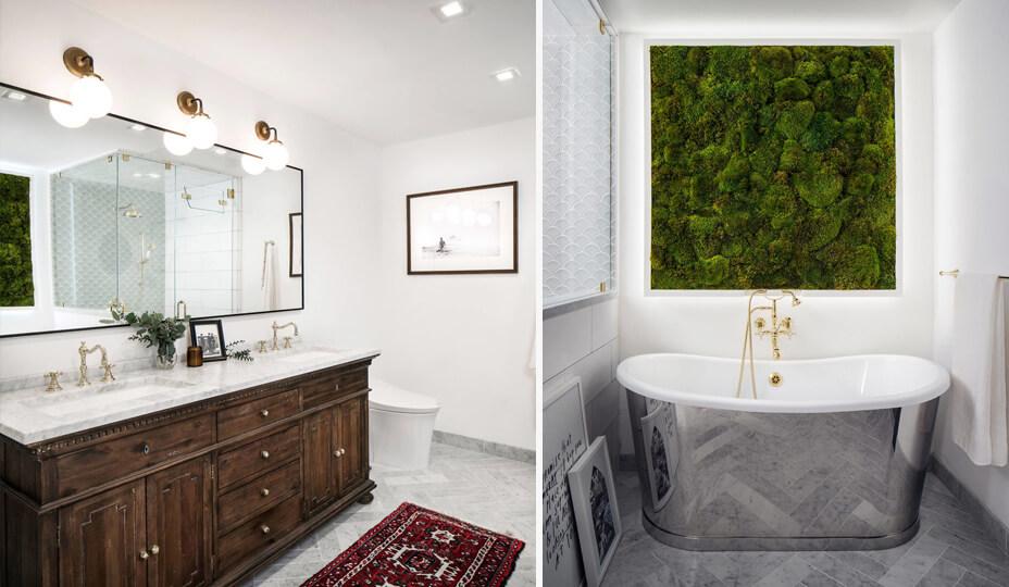 Une Salle De Bain Classique Avec Un Mur Végétal Comme élément Design