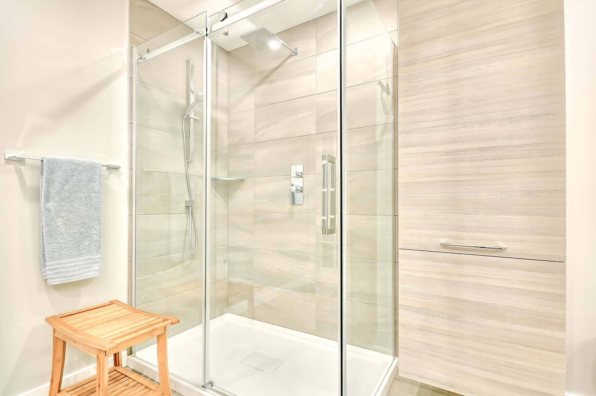 glass shower in a modern bathroom