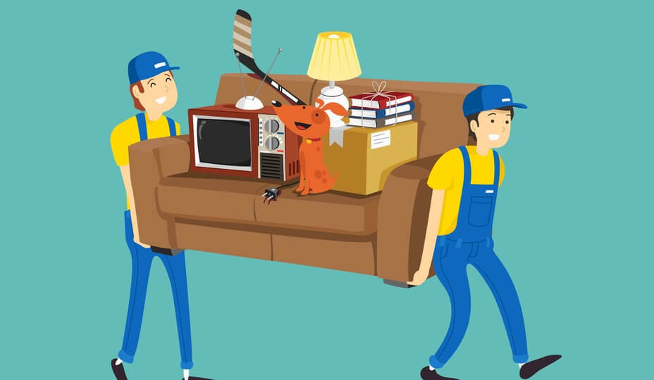 contractors moving sofa