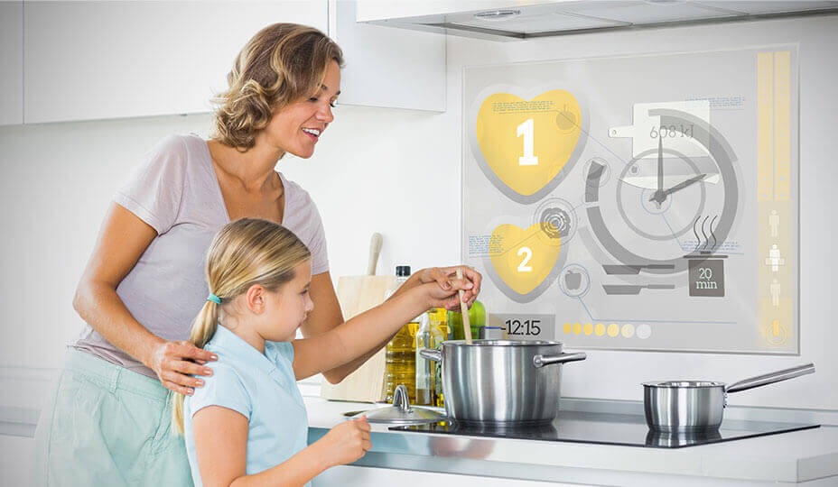 mother and daughter in futuristic kitchen