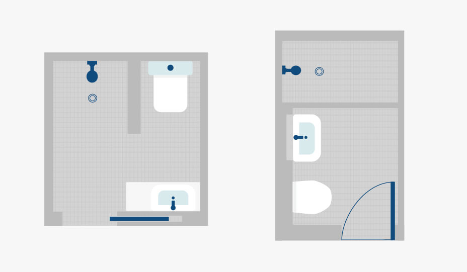 two small bathroom layout plans