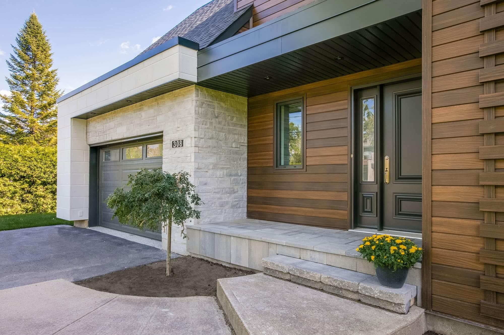 facade maison moderne en pierre et bois