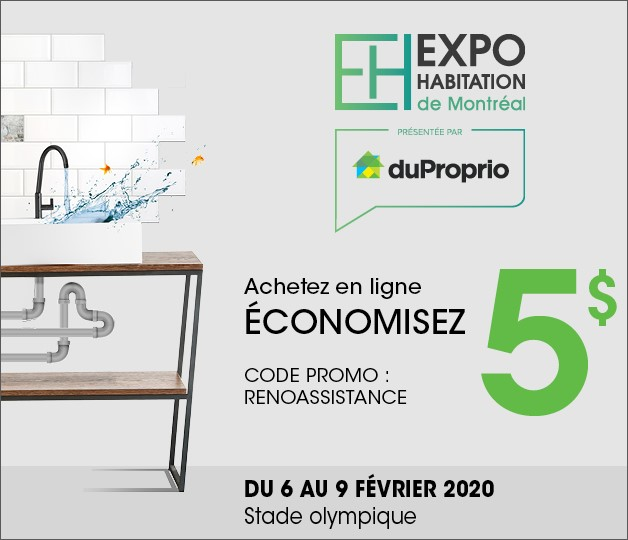 Bannière Expo Habitation de Montréal - code promo RénoAssistance de 5$
