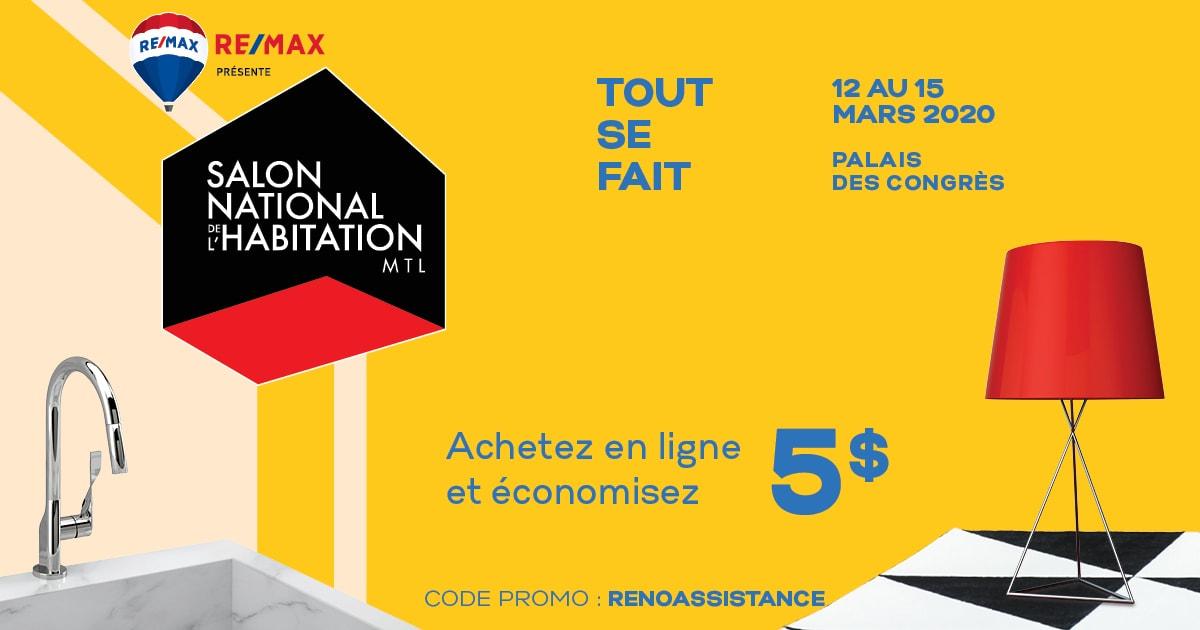 bannière RénoAssistance - Salon National de l'Habitation avec code promo de 5$ rabais