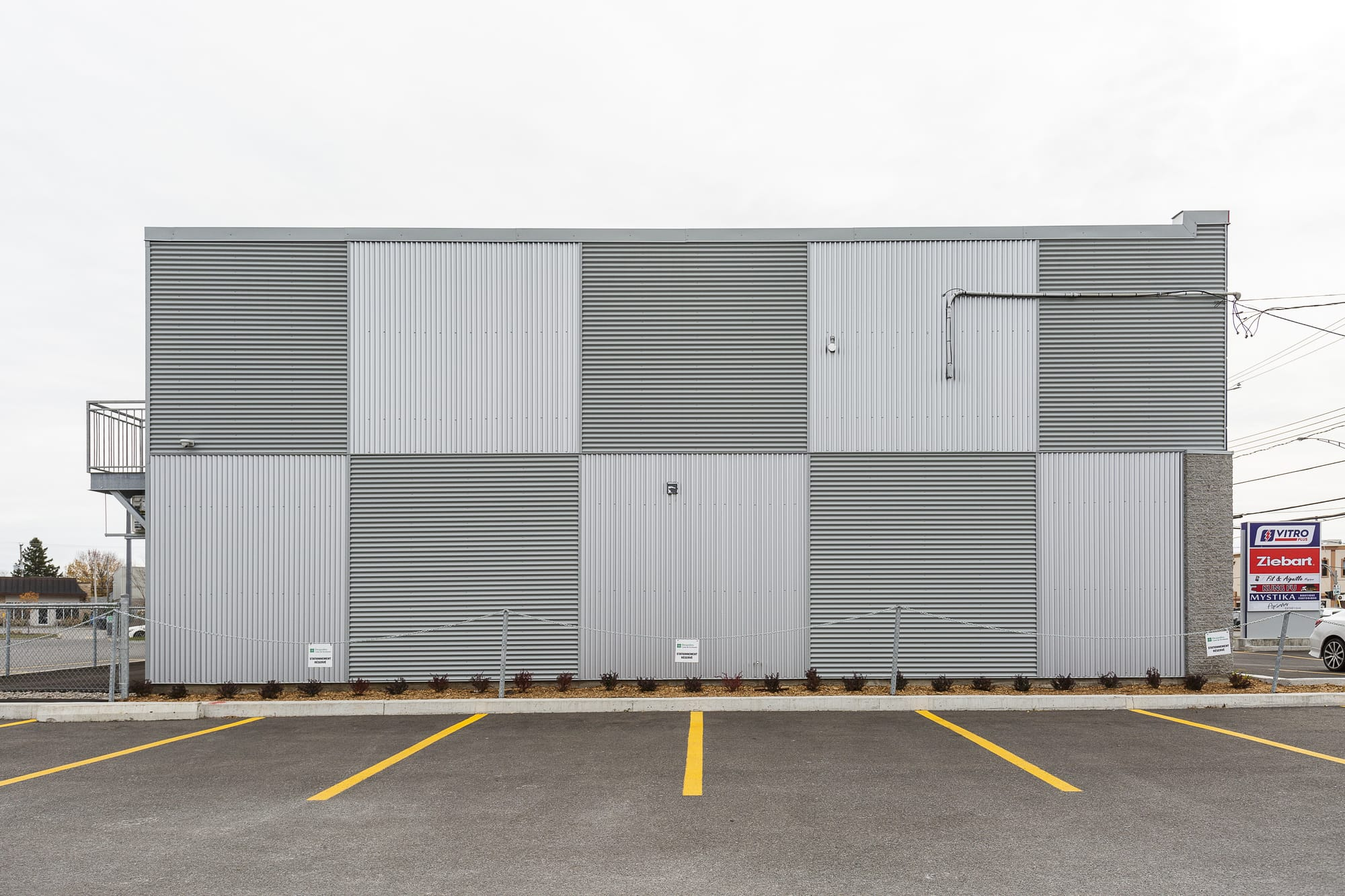 metal cladding commercial building - rear view