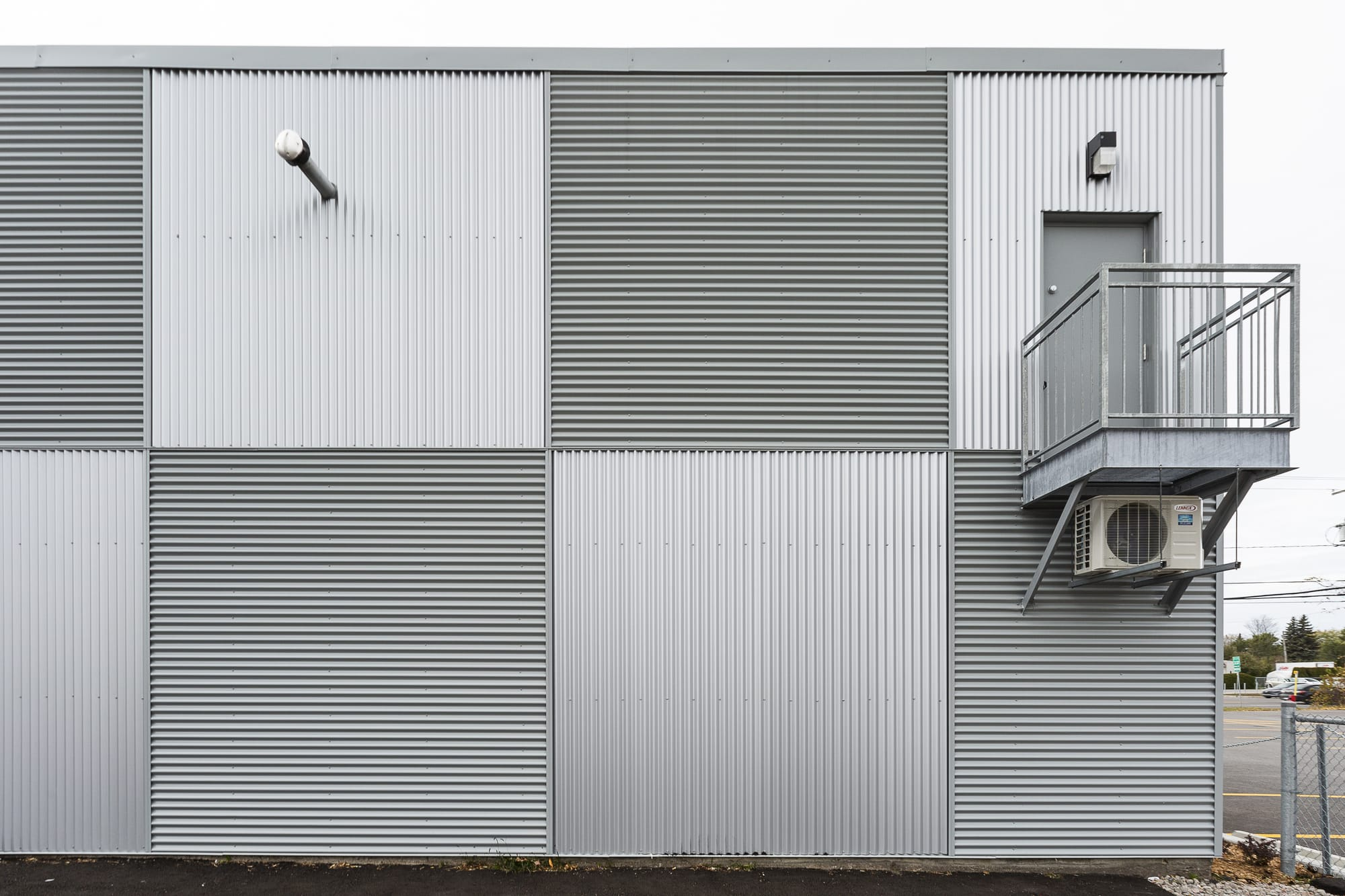 metal cladding - rear view of a commercial building