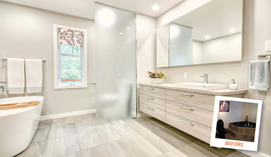 Modern bathroom with before after photo