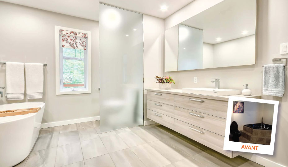 salle de bain moderne avec avant-après