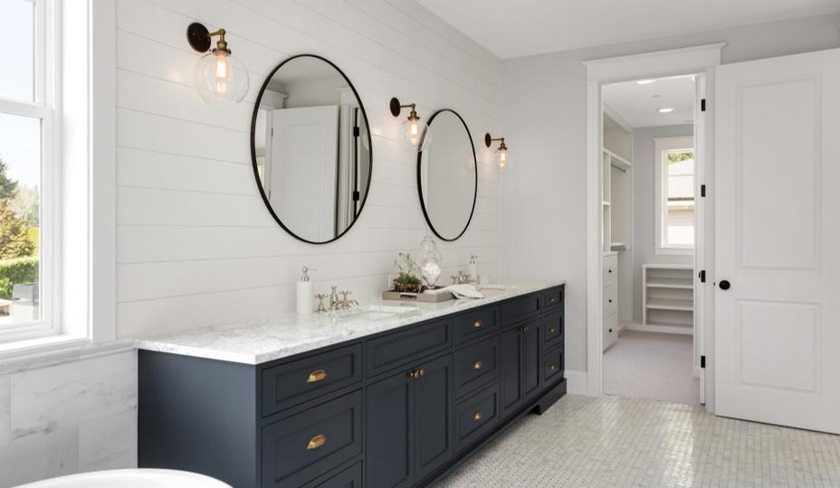 contemporary bathroom blue vanity