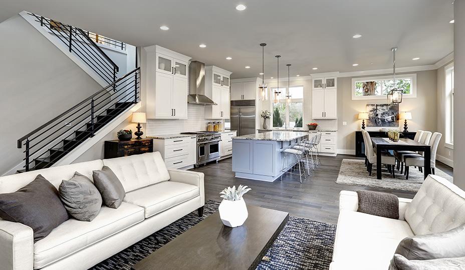 maison avec concept a aire ouverte incluant salle a manger cuisine et salon