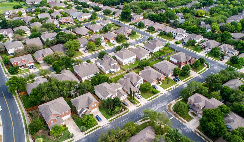 vue de haut de quartier residentiel