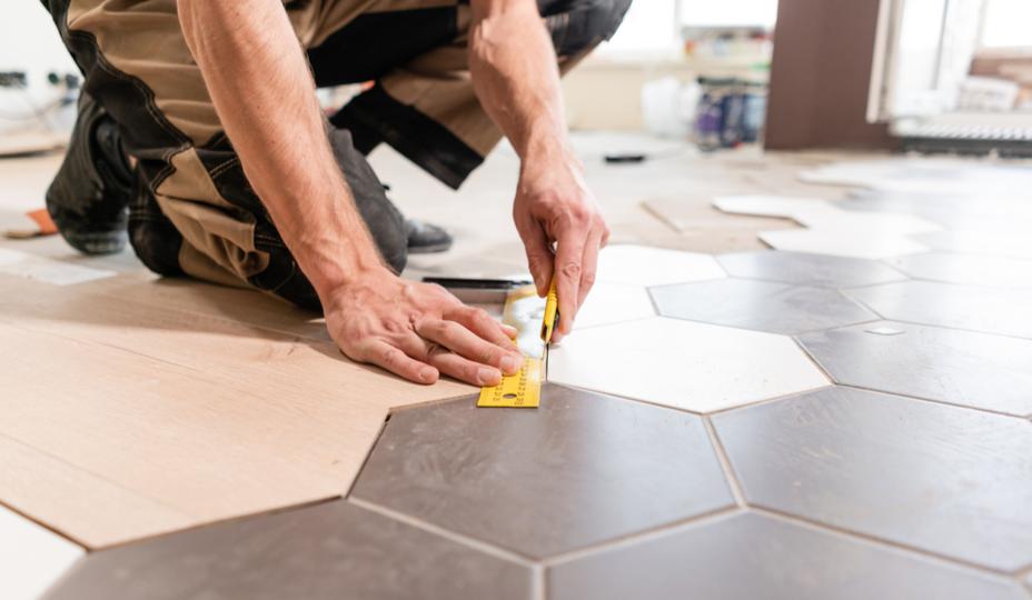 specialized contractor installing floor