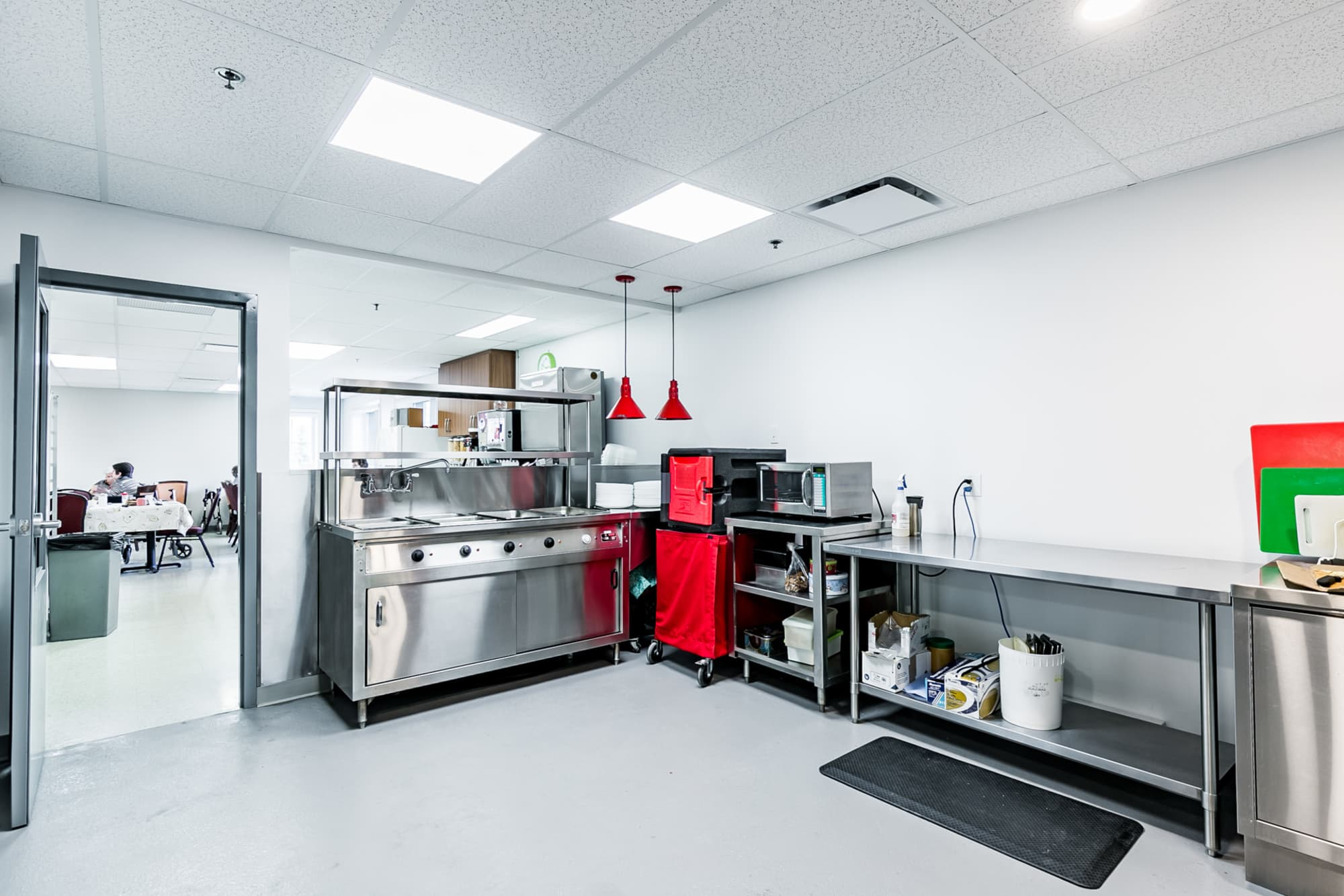 commercial kitchen with stainless steel equipment