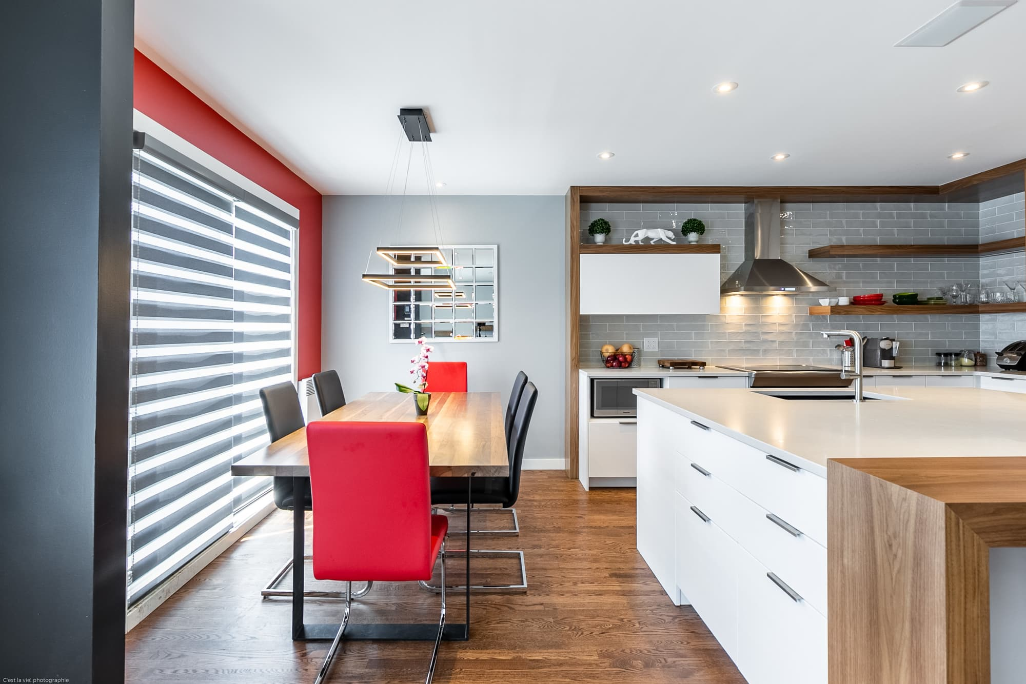 open kitchen with a white island
