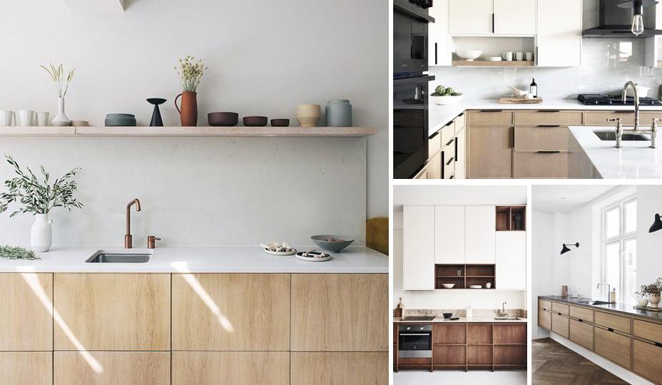 cuisine avec matieres nobles et armoires de bois