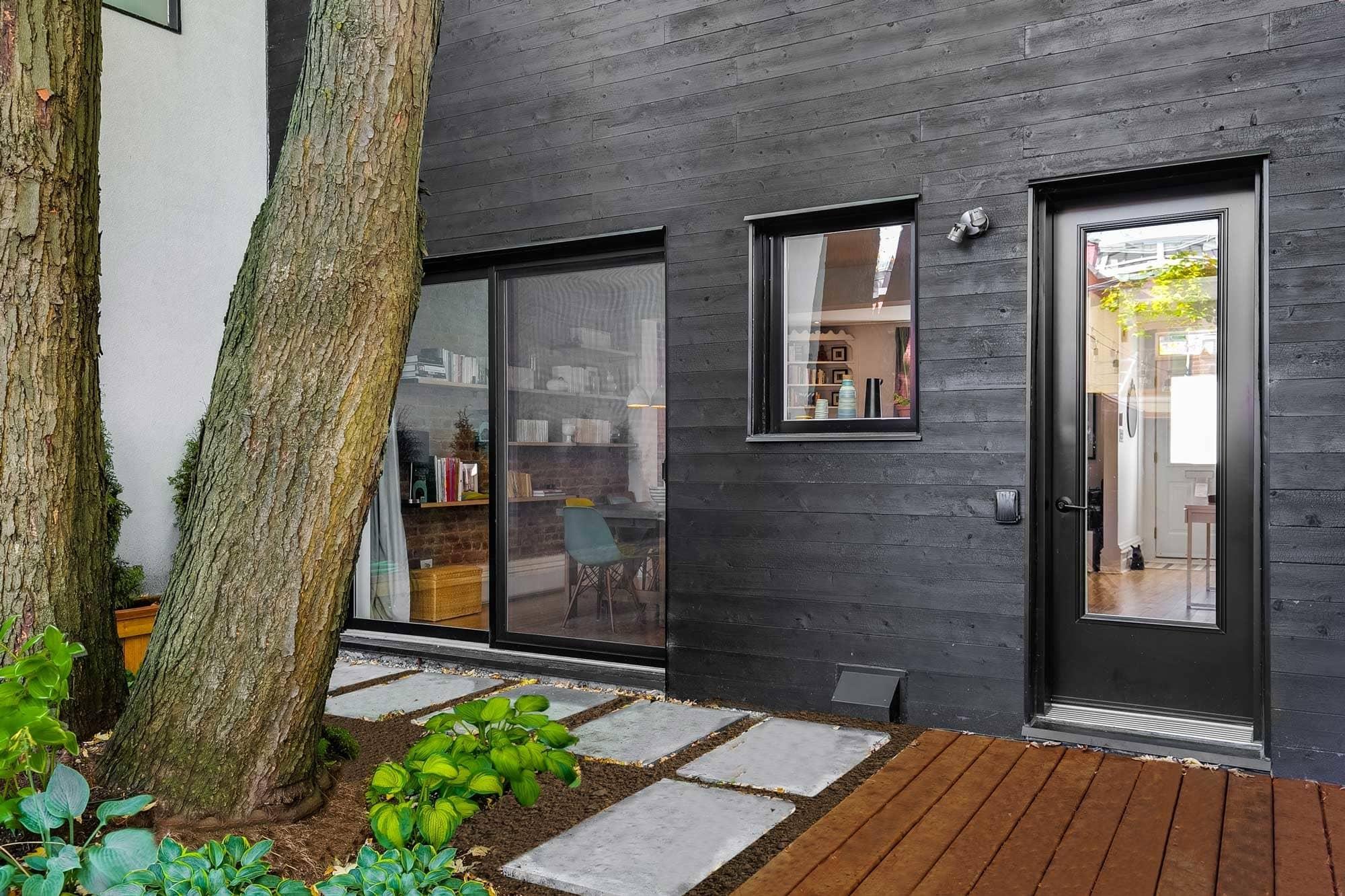 black aluminum patio door, window and door